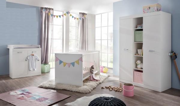 Babyzimmer komplett set weiß  Babyzimmer komplett Ronja weiß Gitterbett Wickelkommode Schrank ...