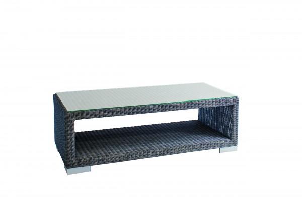 Stern Tisch Avola 120x60x40 cm Geflecht basaltgrau und Glasplatte
