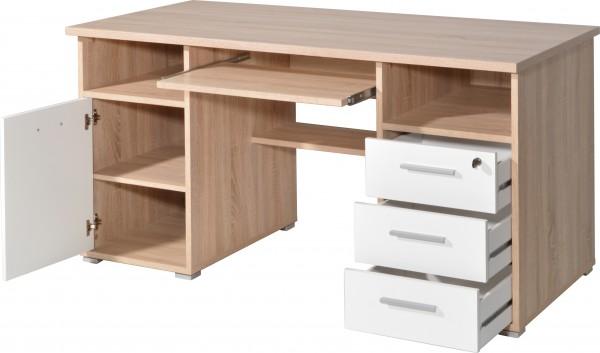 Schreibtisch Sonoma-Eiche-Nb. / weiss