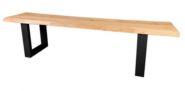Sitzbank Elis X Gestell Eiche wildeiche massiv mit Baumkante geölt