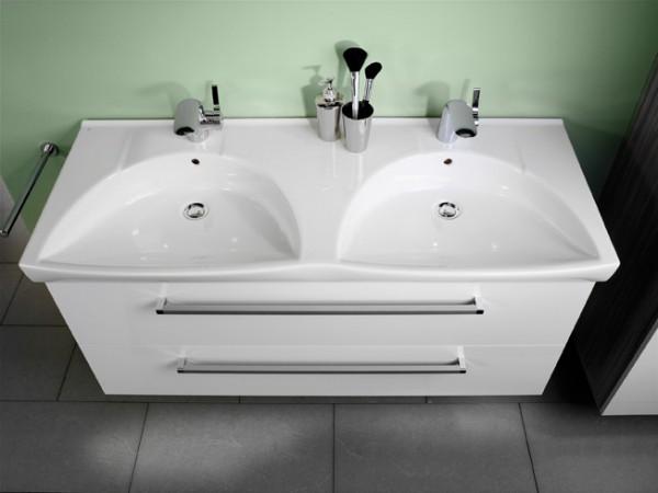 Lanzet K3 Keramik-Doppel-Waschtisch 122/7/52 weiß