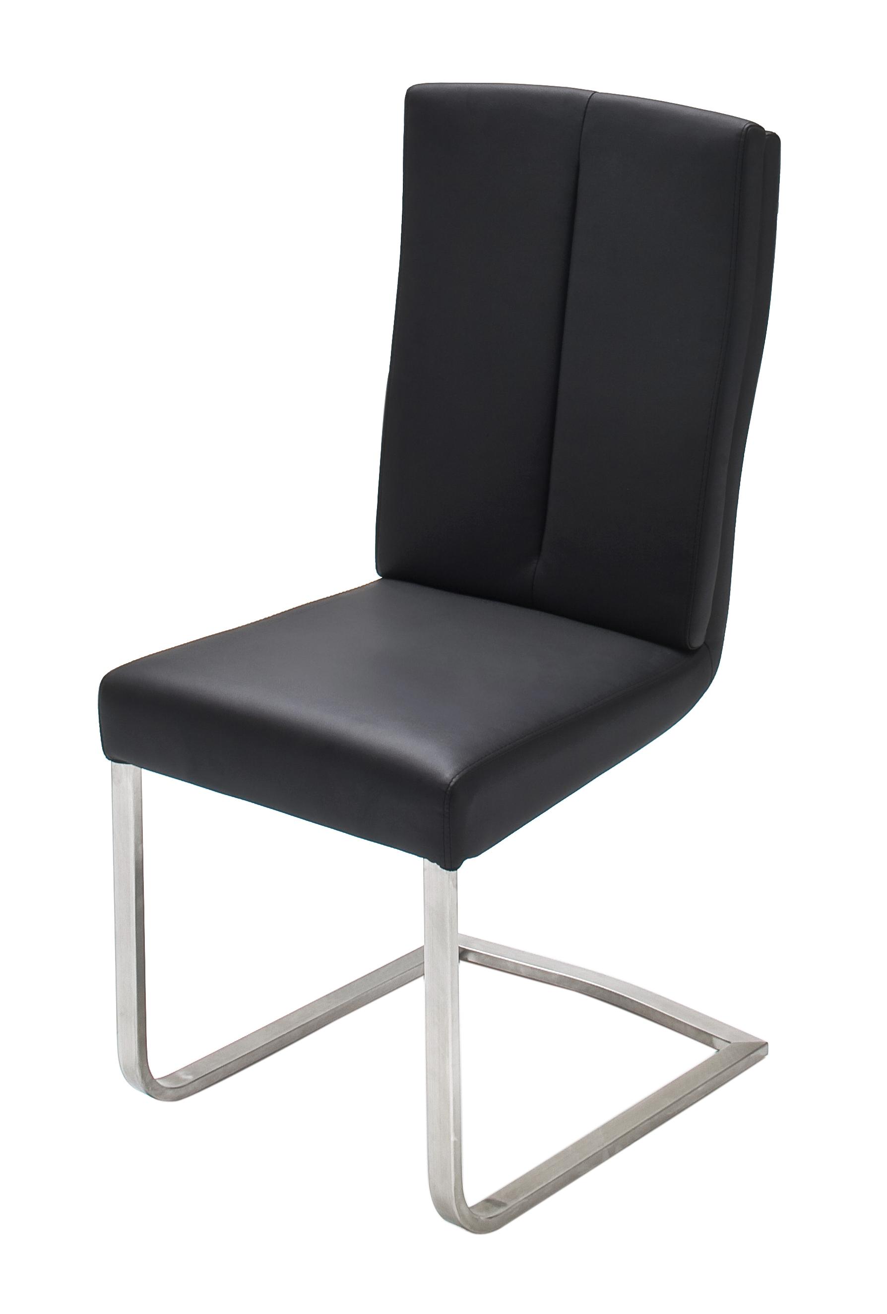 Freischwinger Stuhl Bern 2er Set Edelstahl Flachrohr Esszimmerstühle Esszimmer