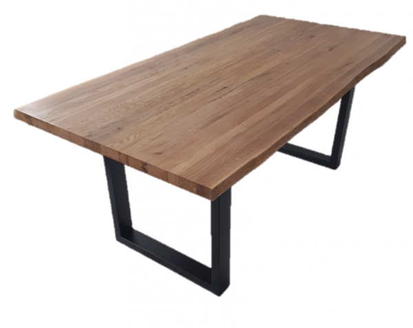 Esstisch mit Baumkante U-Gestell Eiche wildeiche massiv geölt