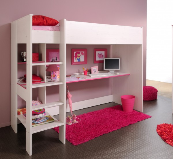 Kinderhochbett Parisot Smoozy in blau und pink